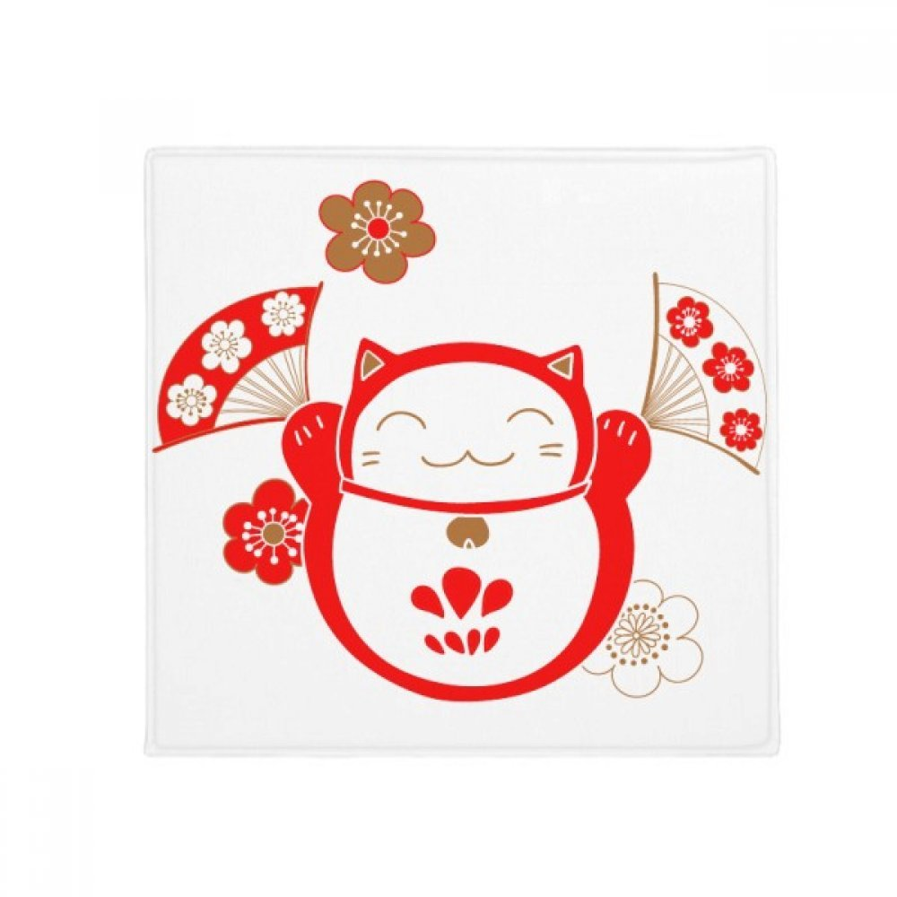 DIYthinker Lucky Fortune Cat Flower Fan Japan Anti-Slip Floor Pet Mat Square Home Kitchen Door 80Cm Gift