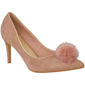 Fashion Thirsty Womens Pointed Toe High Heels Faux Fur Pom Party Sandals Courts Pumps Shoes Size 10