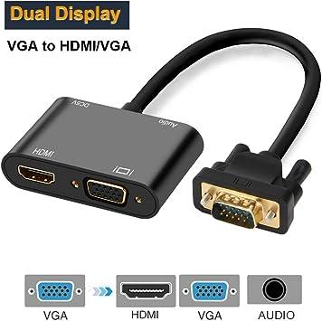 Foshung Adaptador VGA a HDMI, 1080P VGA a VGA HDMI Convertidor de ...