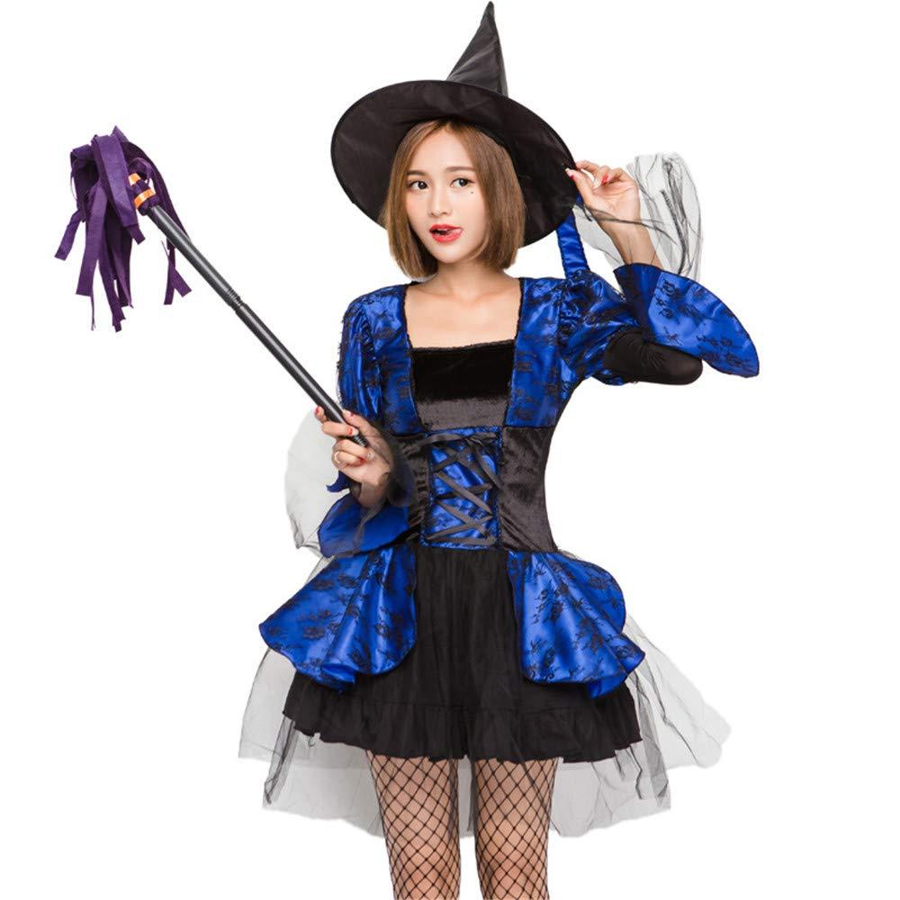 KTYX Adult Female Girl Blaue Süße Süße Süße Hexe Halloween Kostüm Ball Kostüm Halloween Kleider (größe : S) 932355