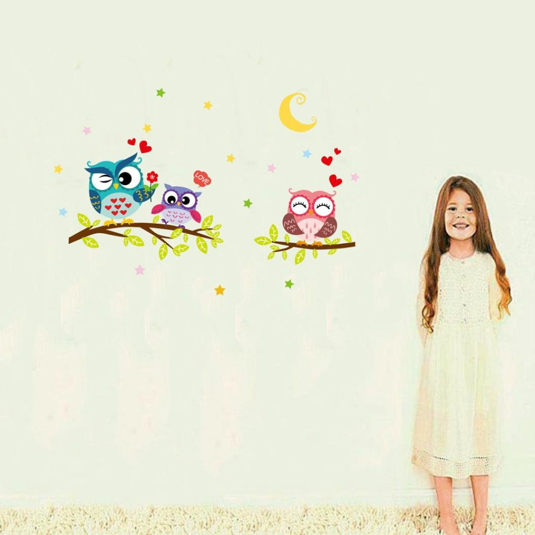 ❤️Pegatinas de pared❤️Dragon868 Impermeable extraíble caricatura búho animal pared etiqueta para niños decoración de habitación