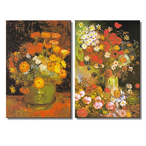 Bowl with Peonies and Roses Vase with Zinnias by Vincent Van Gogh Oil Painting Reproduction in Set of 2 x 2 Panels