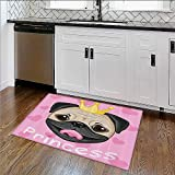 Anti-Static Rugs Princess Dressing Room in Palace Luxurious with Chandelier Fireplace Non-Toxic Waterproof W30''xH18''