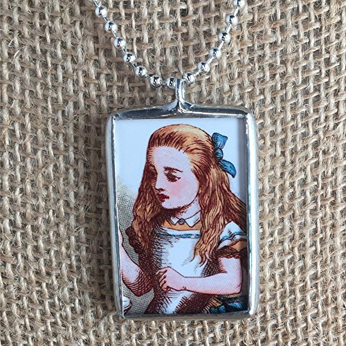 Caterpillar Alice In Wonderland Costume Ideas (Alice in Wonderland Caterpillar and Alice John Tenniel Vintage Art Illustrations Soldered Glass Pendant Charm Necklace)