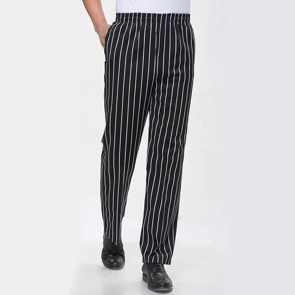 Herren Damen Kochhose B/äckerhose Kochbekleidung K/üchenhose Berufsbekleidung Hose mit Gummizug Schwarz M
