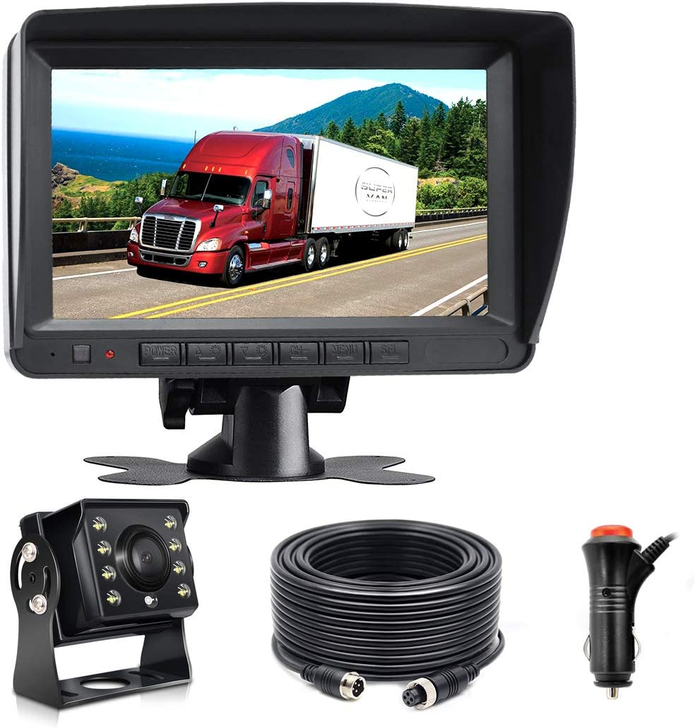 Wired AHD Backup Camera Monitor Kit for Truck Semi-Trailer Box Truck RV Camper Bus Van Farm Mach Motorhome 5th Wheel, HD 7Inch Digital TFT Monitor 960P Mini Camera, Powered by Cigarette Lighter