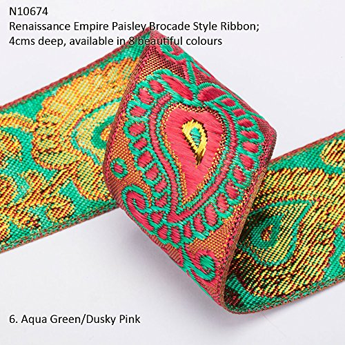 Neotrims Wide Sari Decorative Shimmer Ribbon Paisley Brocade 6cms Deep. Traditional 9 meters Reel for Sari Border. Also for Salwar Kameez, Crafts & Home Interior Décor. 4 cms Deep Border, Vibrant Bright with Metallic Gold Two Tone Base,8 Stunning colours! Buy by the 3 meter or 1 reel of 9 meters Sari length. Bargain Price for 1 Reel! ()