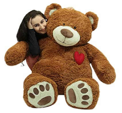 841a0c86b52 Image Unavailable. Image not available for. Color  Big Plush Giant 5 Foot  Teddy Bear with Heart on Chest ...
