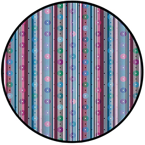 (Printing Round Rug,Pastel,Different Colored Stripes in Vertical Direction with Big and Small Dots Circles Decorative Mat Non-Slip Soft Entrance Mat Door Floor Rug Area Rug For Chair Living)