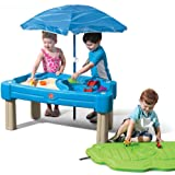 Step2 Cascading Cove Sand & Water Table with Umbrella | Kids Sand & Water Play Table with Umbrella | 6-pc Accessory Set…