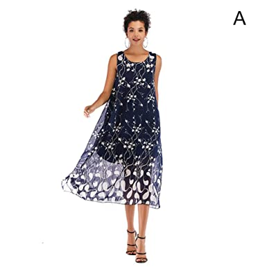 9892ef3eaf62 Hybreace Women Chiffon Dress Sleeveless Round Neck Print Loose Casual Dress  for Summer Navy