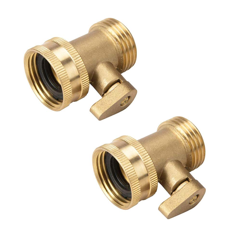 2 Pack Garden Hose Brass Shut Off Valve, 3/4'' Thread Heavy Duty Water Hose Connector Shutoff Ball Valve Faucet Hose Adapter