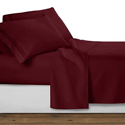 Clara Clark Premier 1800 Collection Deluxe Microfiber 3 Line Bed Sheet Set,  Burgundy Red