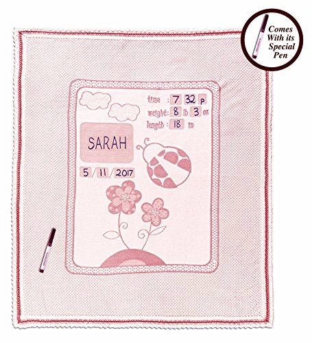 Personalized Baby Blanket Unique Shower Gifts Registry Idea for New-born Girls Boys Twins Moms, Customized Receiving Keepsake Item with Special Pen to Write Name Birthday Weight Length (Lady Bug Pink)