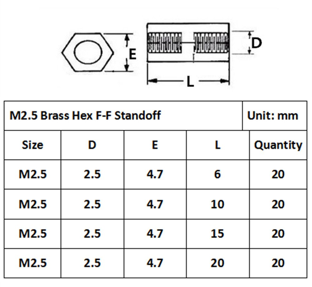 Guard4U 320Pcs M2.5 Male-Female Brass Spacer Standoff /& Stainless Steel Screw Nut Assortment Kit