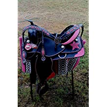 "16"" Western Cordura Trail Barrel Pleasure Horse SADDLE Bridle Tack Pink 4937"