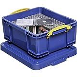 Really Useful Boîte en plastique transparent Box 18B 18 litres avec couvercle (Bleu) (Import Allemagne)