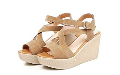 TYAW-Frauen Sandaletten Heels Super Fiber Dick Unten Fisch Mund Farbe Apricot Farbe,35