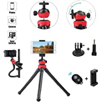 Flexible Phone Tripod, 360° Rotate Flexible Tripod with Wireless Remote Shutter and Universal Clip, Adjustable Phone…