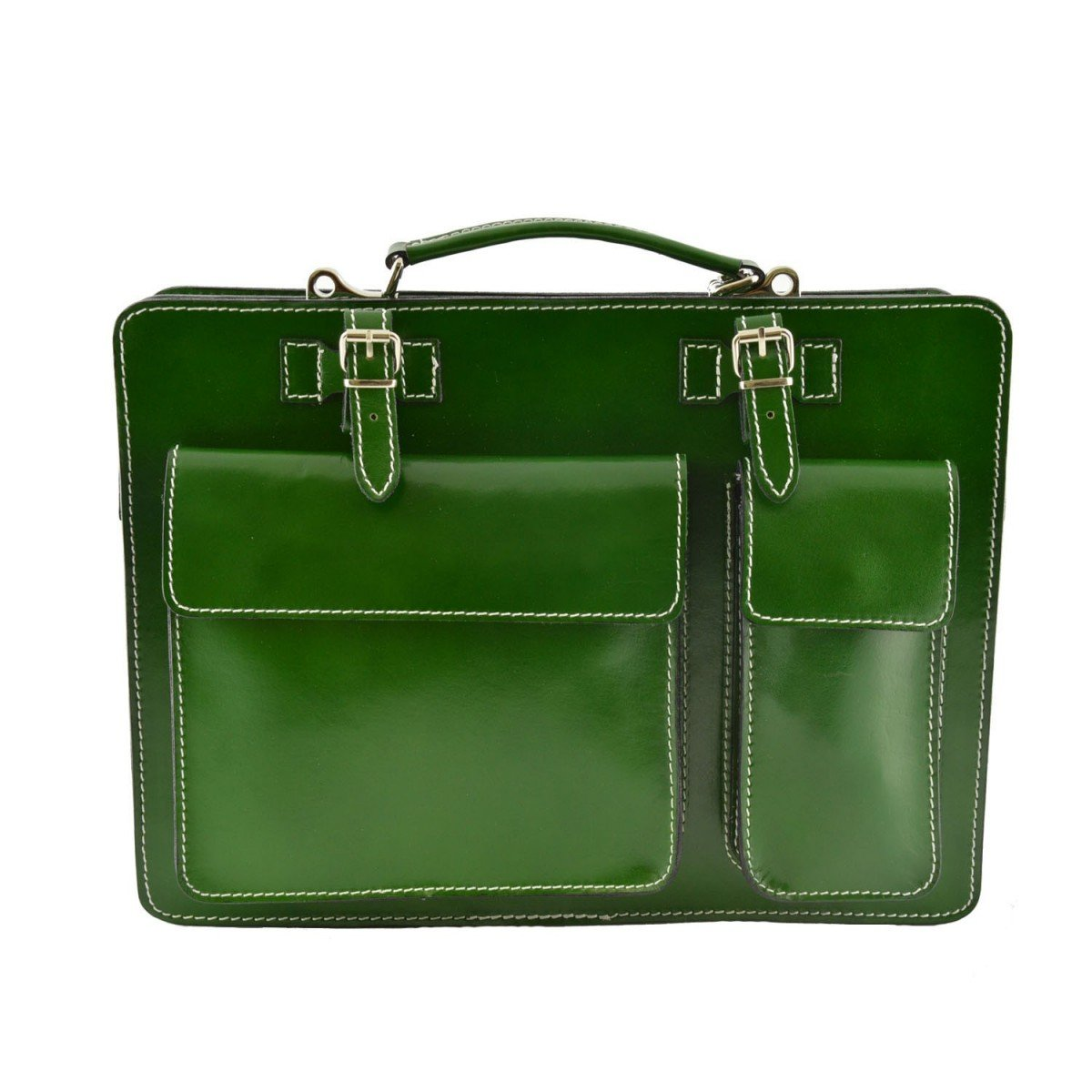 Made In Italy Leather Briefcase Color Green - Business Bag   B014T6IPPW