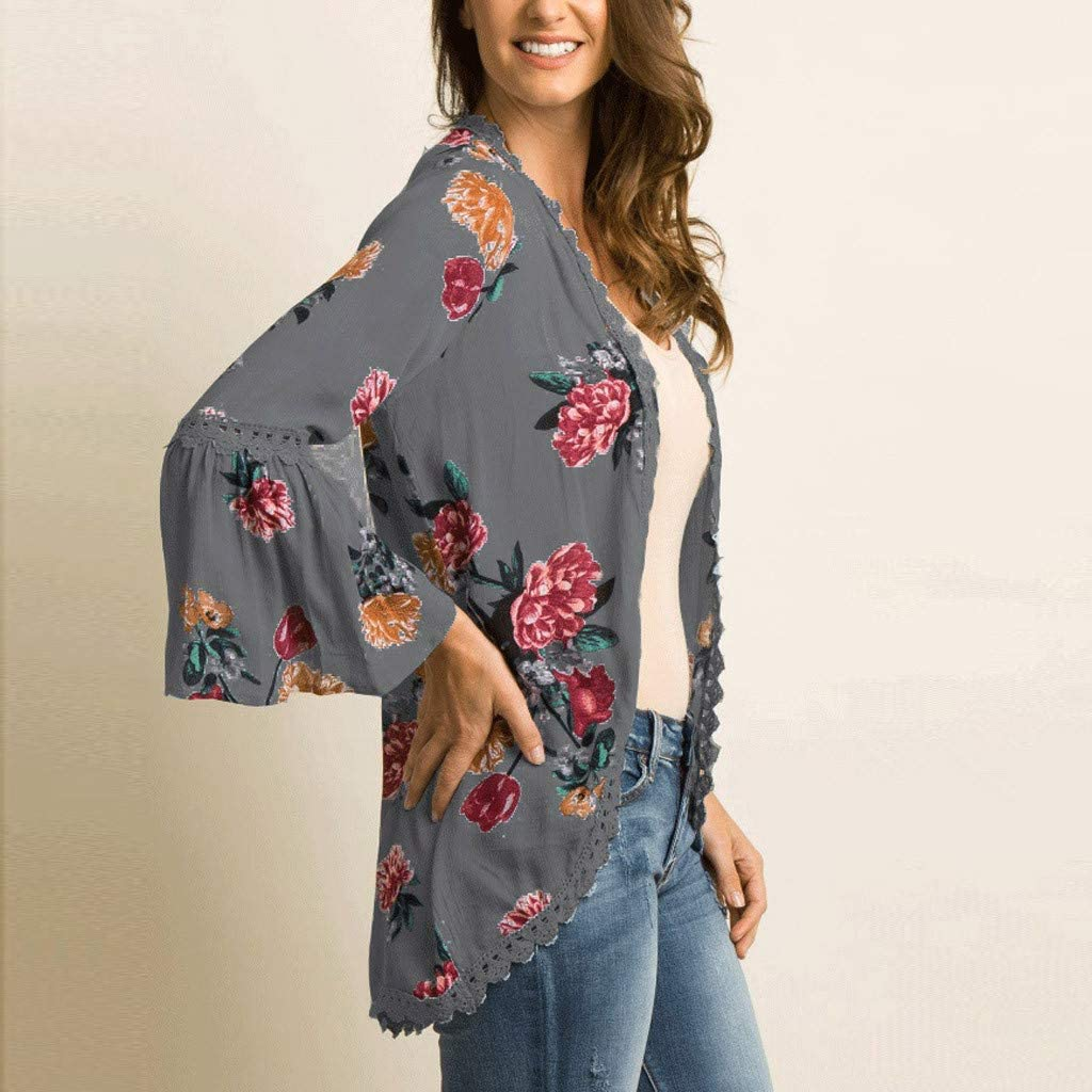 iLOOSKR New Womens Cardigan Long-Sleeved Printed Kimono Trumpet Sleeves Lace Beach Blouse Tunic