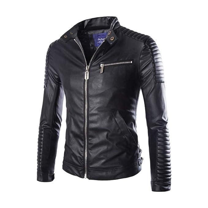 Clearance☃Men Coat Men Jacket Zipper Stand Collar Imitation ...