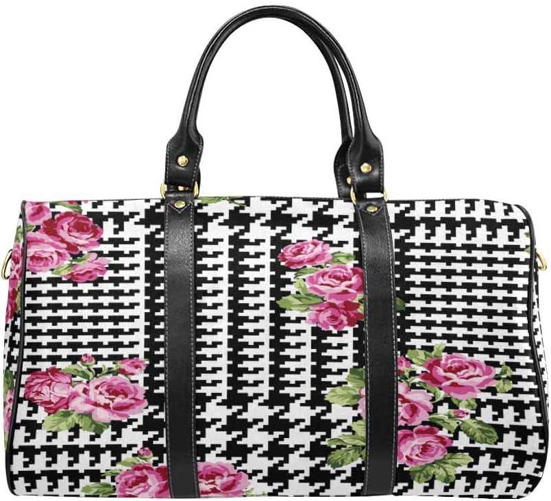 InterestPrint Unisex Duffel Bag Carry-on Bag Overnight Bag Weekender Bag Giant Glen Plaid with Roses