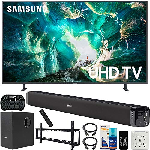 Samsung UN55RU8000 55-inch RU8000 LED Smart 4K UHD TV (2019) Bundle with Deco Gear Soundbar with Subwoofer, Wall Mount Kit, Deco Gear Wireless Keyboard, Cleaning Kit and 6-Outlet Surge Adapter