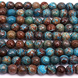 "Dyed Round Faceted Sea Sediment Jasper Gemstone Blue Jewelry Making Loose Beads 15"" 0.236"""