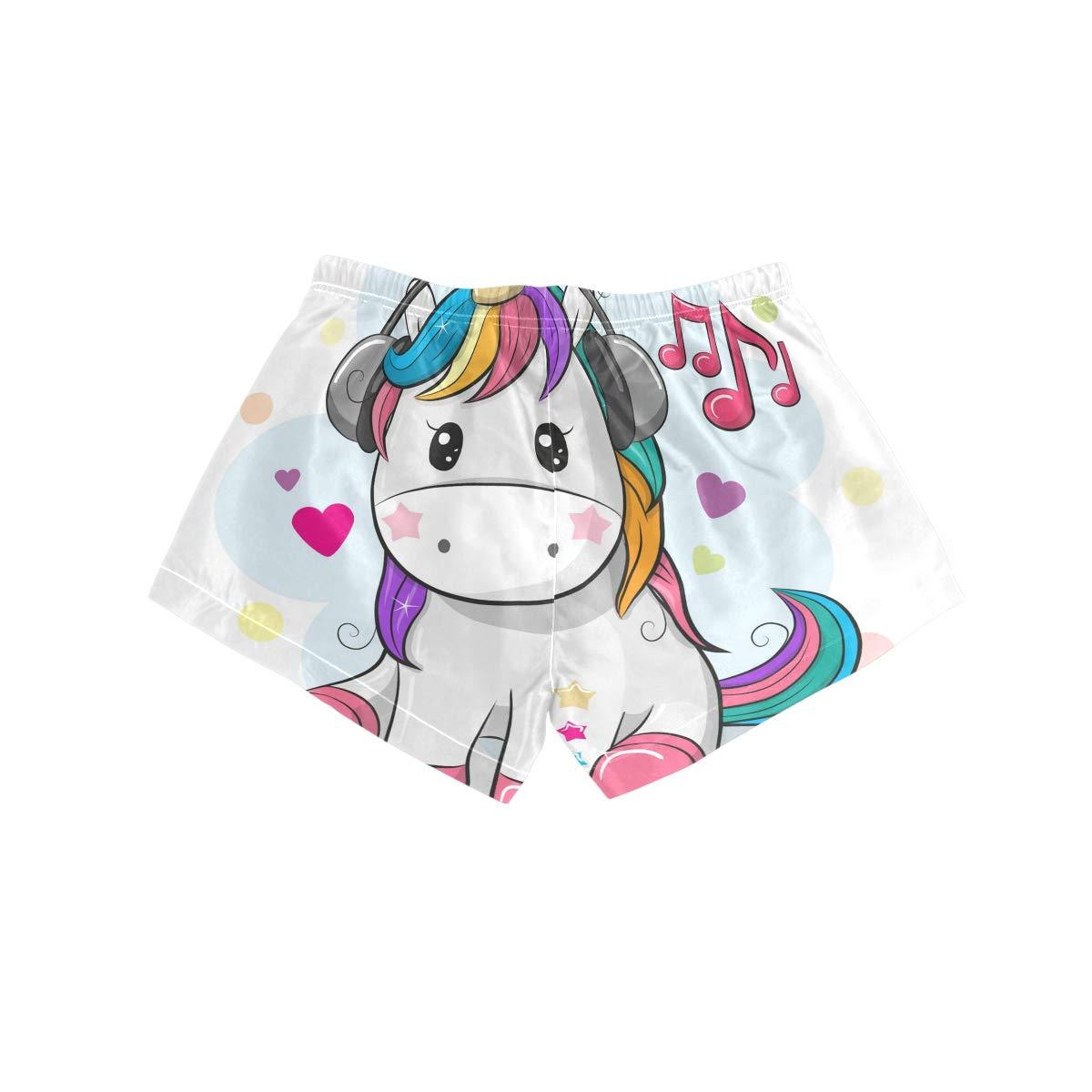 Womens Beach Shorts Baby Cartoon Unicorn Love Music Swim Trunk with Pockets