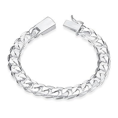 NYKKOLA Beautiful Fashion Jewelry Classic 925 Sterling Silver plated Snake Chain Bracelet For Women Mens RIX5KUYvu