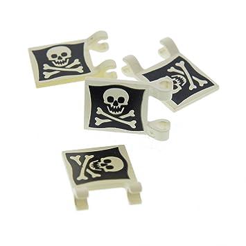Flaggen der Piraten 2 x 2 in blau weiß u Lego 2 Fahnen schwarz weiß