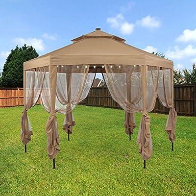 Garden Winds Replacement Canopy for The Hampton Bay Solar Hexagon Gazebo - Standard 350 - Beige : Garden & Outdoor