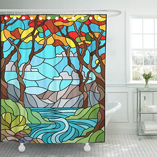 Emvency Shower Curtain Stained Glass Style with Rocky Creek The of Sunny Sky Mountains Trees and Fields Autumn Landscape Waterproof Polyester Fabric 72 x 78 Inches Set with Hooks ()