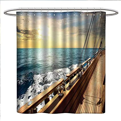 Nautical Shower Curtain Collection By Sailboat In Mediterranean Waves At Sunset Sky Relax Yacht Wind