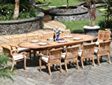 New 11 Pc Luxurious Grade-A Teak Dining Set – Large 117″ Oval Table and 10 Stacking Arbor Arm Chairs #WHDSABm