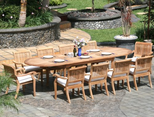 Piece grade a teak dining set large oval table and