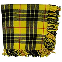 New Kilt Fly Plaid Acrylic Wool Scarf Rolled Fringe Shawl in Different Colors (Macleod of Lewis)