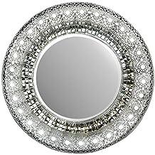 "Lulu Decor, 19"" Oriental Round Silver Metal Wall Mirror, Mirror Size 11"" & Frame 19"""
