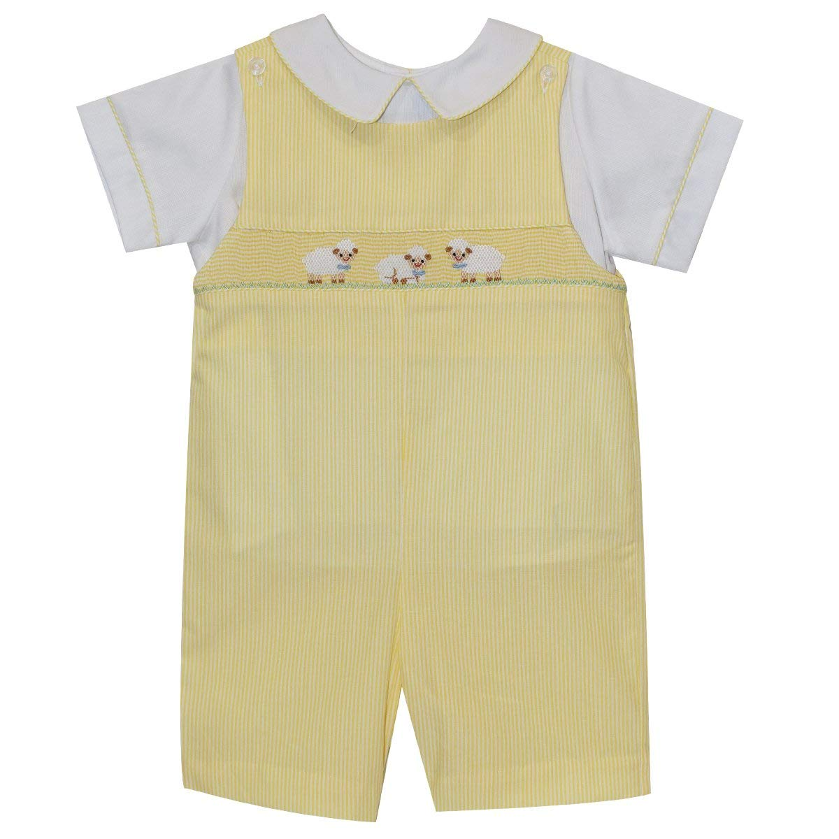 Lamb Smocked Boys Shortall Short Sleeve Yellow