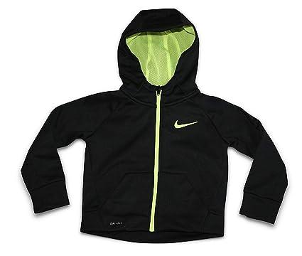 a4017b0fe9 Nike Toddler Boys Full Zip Therma Hoodie Sweatshirt (Size 2T) Black/Volt