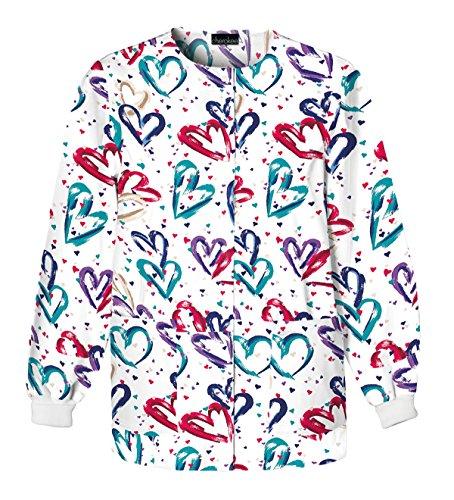 Cherokee Women's Snap Front Warm-up Jacket, Heartbeat Large