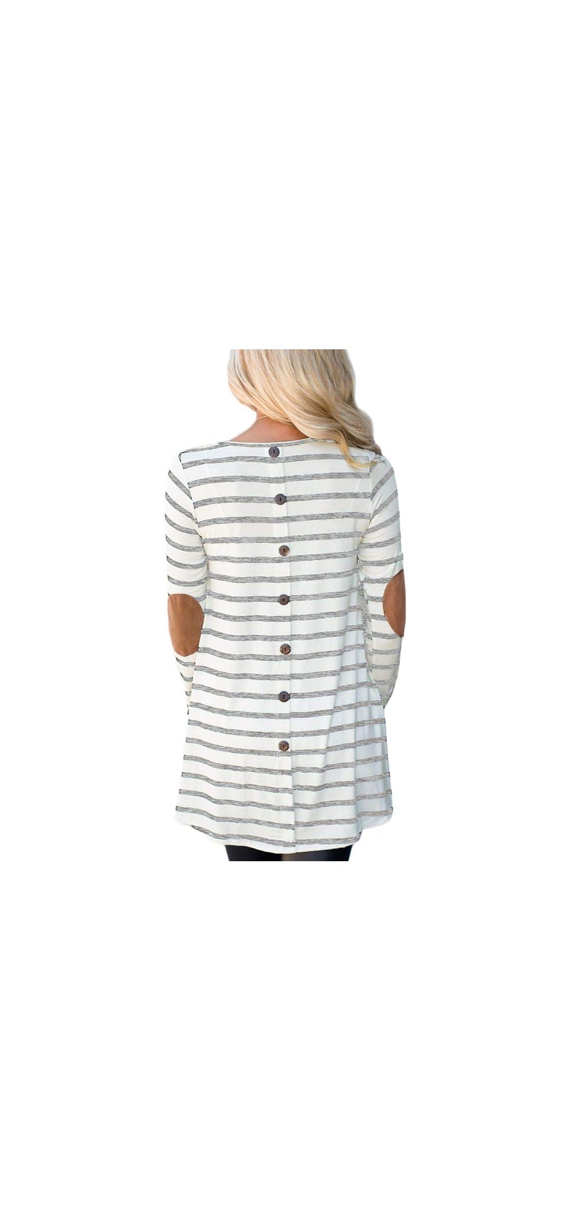 Women Stripe Elbow Patch Button Down Back Tunic