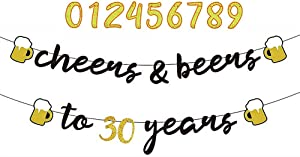 YiiiGoood Interchangeable Numbers Cheers & Beers to Any Age Banner Cursive Banner Beer Birthday Sign Happy Birthday Anniversary Bunting Party Decorations