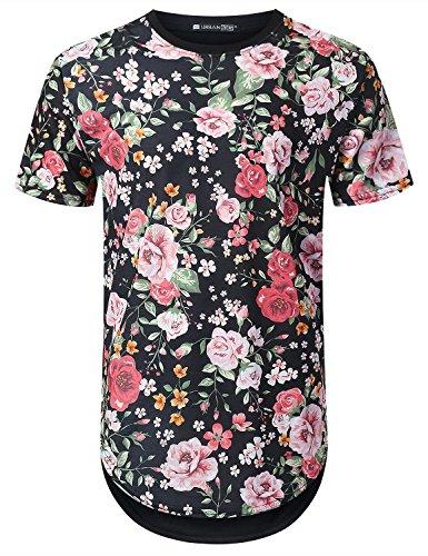 URBANTOPS Mens Hipster Hip Hop Baby Pink Floral Longline T-Shirt Black, XL