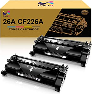 ONLYU Compatible Toner Cartridge Replacement for HP 26A CF226A HP Laserjet Pro M402n M402dn M402dw M402d 402n M402dw HP Laserjet Pro MFP M426dw M426fdw M426fdn Printer (Black, 2-Pack)