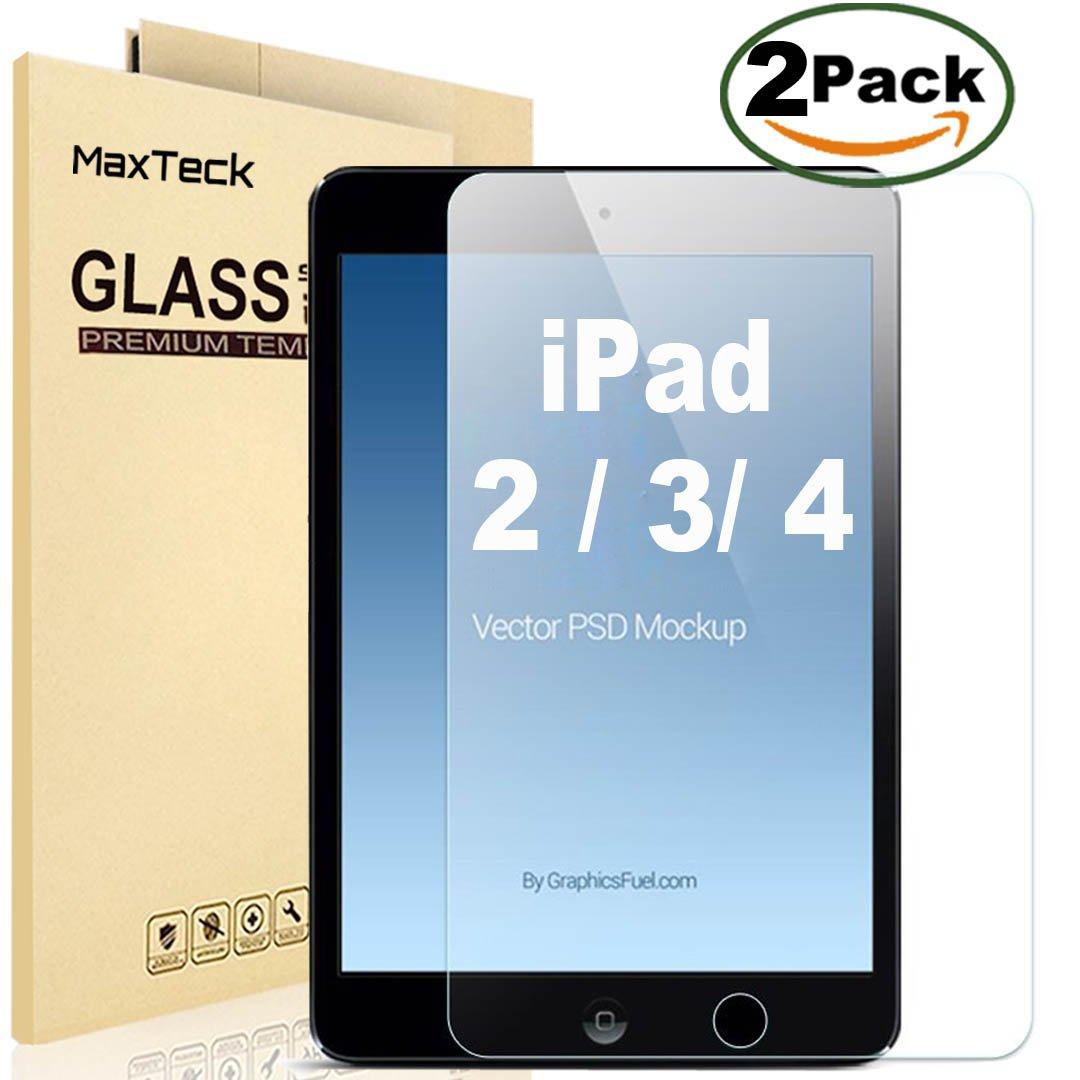 2 Pack] iPad 2 3 4 Protector de Pantalla de Cristal, maxteck ...