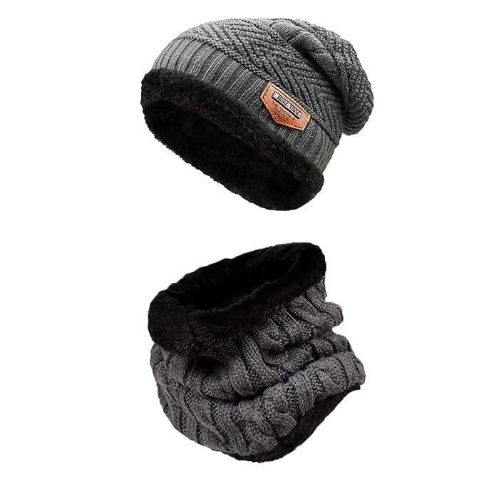743fdfb521a5 heekpek - Conjunto de bufanda de invierno para hombre y mujer, gorro ...