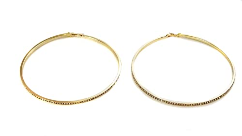 Amazon Com Large 4 Inch Channel Crystal Hoop Earrings Silver Or