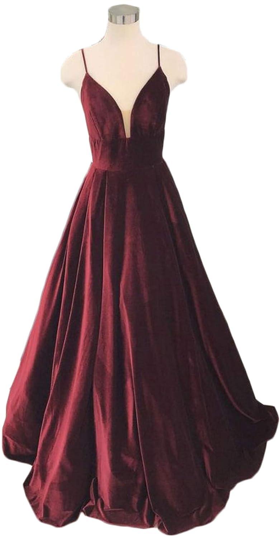 Burgundy Ri Yun Women's Spaghetti Strap Velvet Prom Dresses Long 2019 ALine Backless Formal Evening Ball Gowns